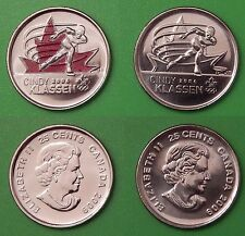 2009 Canada Cindy Klassen 25 Cents Colored & Plain Issue From Mint Rolls