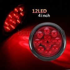 "4"" 12 LED Round Red LED Turn Stop Brake Tail Lights For RV Truck Trailer US"