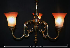 Vintage 1950s three-arm brass chandelier ribbed fleck-tinted prismatic shades