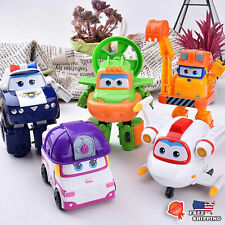 5PCs Super Wings Deformation Mini Planes Toys Robot Car Action Figures Kids Gift