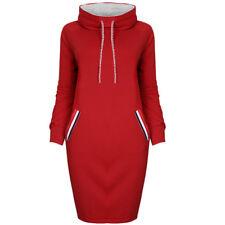 US Womens Casual Dress Long Sleeve Hoodie Hooded Jumper Sweater Tops Midi Dress