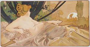 Alphonse Mucha Mucha Dawn Giclee Art Paper Print Paintings Poster Reproduction