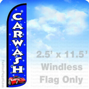 CAR WASH - Windless Swooper Feather Flag 2.5x11.5 Banner Sign - Bubbles bz
