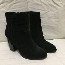 Frye Boots Women's Size 6.5 Myra Tassel Lace Black Suede