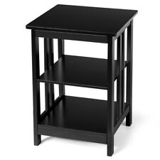 3-Tier Nightstand Side Table Wooden End Table W/ Baffles & Round Corners Black