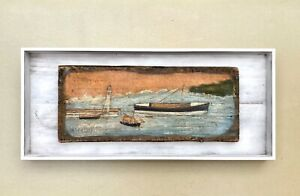 Alfred Wallis signed painting on driftwood