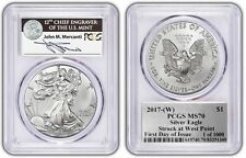 2017-(W) Silver Eagle Mercanti MS70 First Day of Issue PCGS Limited 1 of 1000