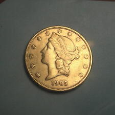 1905-S Gold $20 Liberty Double Dbl Eagle Coin ~ AU+ ~ (#189)