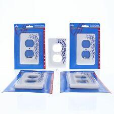 5 Leviton Porcelain Decorative Blue Vine Duplex Receptacle Outlet 1G Wallplates