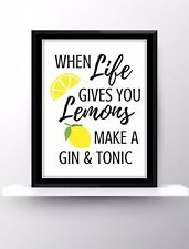 Bar Pub Decor Wall Hanging Gin And Tonic Life Funny Home Gift Present Quote