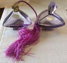"2Pc Pompadour Amethyst Art Glass Perfume Atomizer & Covered Jar Each, 4"" High"