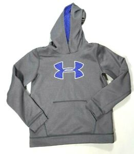 UNDER ARMOUR STORM 1 Youth Kids Gray Pullover Hoodie Sweatshirt Size LARGE