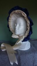 Civil War Reenactment Dress Blue Silk Taffeta Bonnet with Brim Ruffle