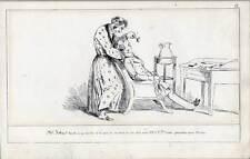 Zahnarzt-Karikatur-Medizin-Zahn-Zähne Lithographie um 1850 SELTEN