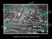 OLD LARGE HISTORIC PHOTO OF NEWBURGH NEW YORK AERIAL VIEW OF CITY c1935