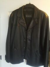 Guess Men's Leather Jacket With Removable Liner Size L Large Black (flawed)
