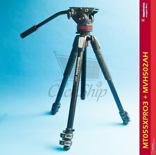 Manfrotto MT055XPRO3 Aluminum Tripod with 502HD Pro Video Head MVH502AH