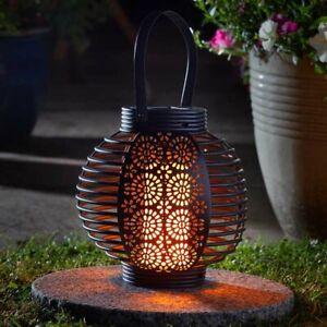 Solar Powered LED Flame Effect Rattan Lantern Outdoor Garden Decor Hanging Lamp