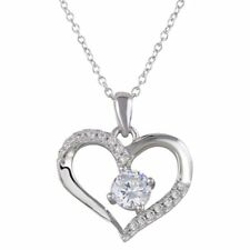 925 Sterling Silver Heart Necklace Pendant for Women Rhodium Plated Love CZ