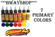 ETERNAL Tattoo Inks PRIMARY Colors Set of 7 Bottles 1 oz 30 ml Authentic USA