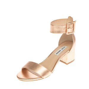 RRP €105 STEVE MADDEN Leather Ankle Strap Sandals Size 37 UK 4 US 6.5 Metallic
