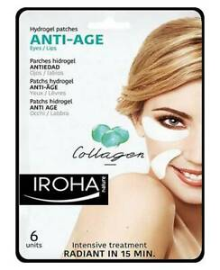 Iroha Eye Patch Mask Hydrogel Collagen Anti Aging Vitamin A Erase Fine Lines 6ps