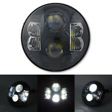 "7"" Motorcycle Black Projector Daymaker HID CREE White LED Headlight Lamp Bulb"