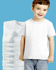 24 NEW TODDLER WHITE BLANK PLAIN T-SHIRTS LOT BULK U MIX SIZE 2T 3T 4T 5T