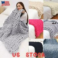 Super Soft Chenille Chunky Knitted Blanket Throw Yarn Area Rug Mats Weaving Wool