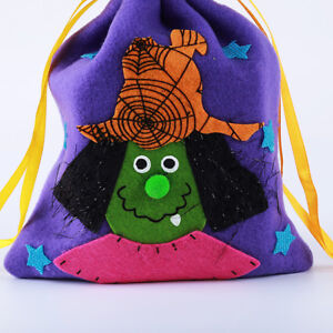Halloween Gift Drawstring Bag Witch Owl Cat Pumpkin Pouch Packing Holder HO