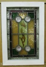 "VICTORIAN ENGLISH LEADED STAINED GLASS WINDOW Small Hand Painted 12.75"" x 19.25"""