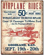 Airplane Rides Metal Tin Sign Flying Air Show Vintage Look Advertising New