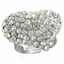 Clear Diamante Heart Stainless Statement Ring - Boxed Bling One Size Adjustable