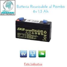 Batteria Ermetica Ricaricabile al Piombo 6V 1,3Ah connettore LAMPADE BEGHELLI