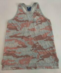 Nike Woman's Orange Grey Heather Camo Racerback Tank XL Organic Cotton Blend