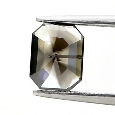 Natural Rustic Diamond 1.37Ct Fire Brownish Gray Sparkling Emerald Step Cut Gift
