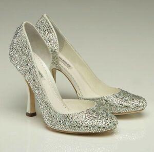 Benjamin Adams GAGA Ivory Leather Swarovski Crystal Bridal Shoes Size 40 US 9