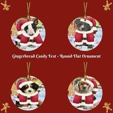 Gingerbread Candyfest Dog Cat Round Flat Christmas Tree Ornament Decor