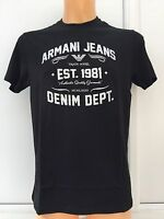 ARMANI JEANS Silver/White Large Logo Black T. Size S-XXL BNWT. 100% Pima Cotton