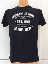 ARMANI JEANS Silver/White Large Logo Black T. S - L - XXL BNWT 100% Pima Cotton