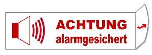 Alarmgesichert-Folie-70 x 20 mm-Alarm-Schild-Hinweisschild-Warnschild-selbstkl.