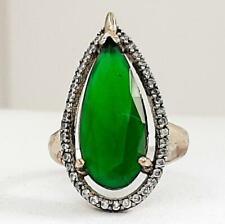 Deco 9.70ctw Emerald & Diamond Cut Sapphire 14K Yellow Gold 925 Silver Ring 4.6g
