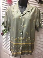 774e780850 Dressbarn Womens Blouse Size 6 Short Sleeve Green Color And Flowers Desing