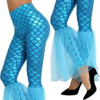 Womens Mermaid Fish Scales Leggings Mesh Bell Bottom Pants Clubwear Bottom