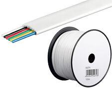 0,13/m 100m Telefonkabel Telefon Leitung Flachkabel 6Adrig Telefon Kabel weiss