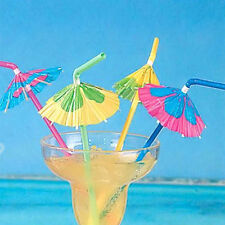 20x Paper Flower Umbrella Plastic Cocktail Hawaiian Beach Party Drinking Straw