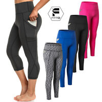 Women Yoga Pants Gym Leggings Pockets Fitness Running Capris Sports Stretch US