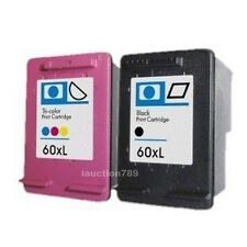2pcs Ink Cartridges HP60 60XL for HP ENVY 100-D410a 110-D411a 120 Printer