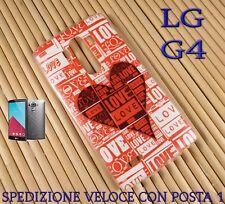 Cover custodia in gomma di silicone per Smartphone LG G4 LOVE CON CUORE ROSSO