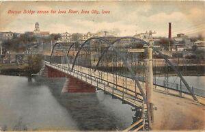 H68/ Iowa City Postcard c1910 Avenue Bridge River Buildings 19